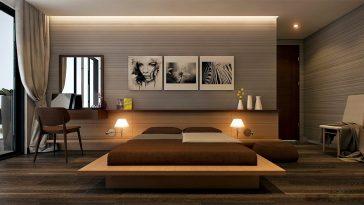 decoração no estilo moderno para quarto de casal