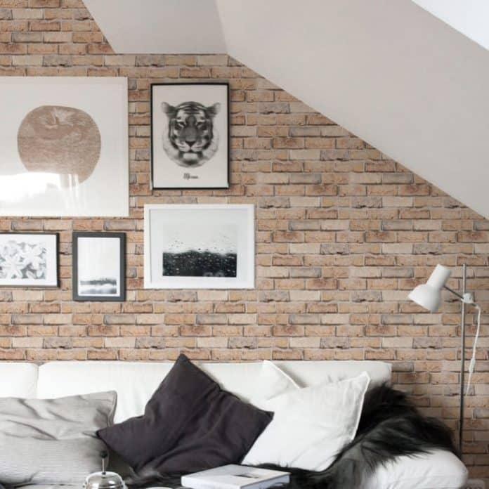 papel de parede com efeito de tijolinhos