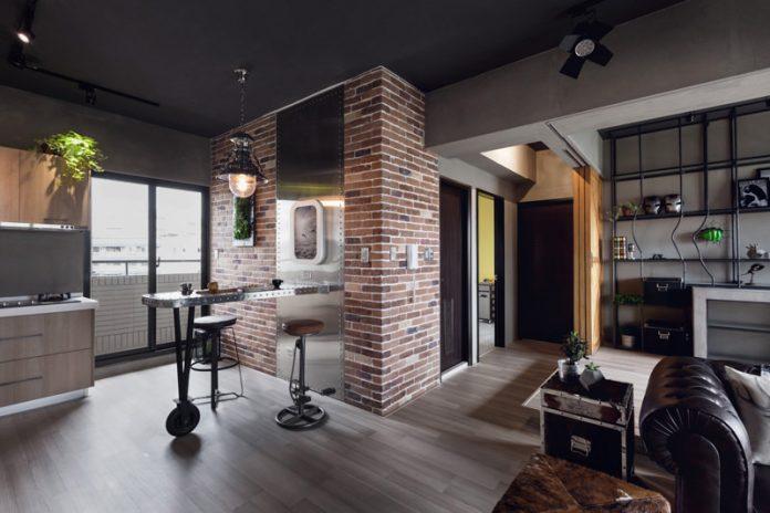 parede em tijolinho aparente para um sala com decoração industrial