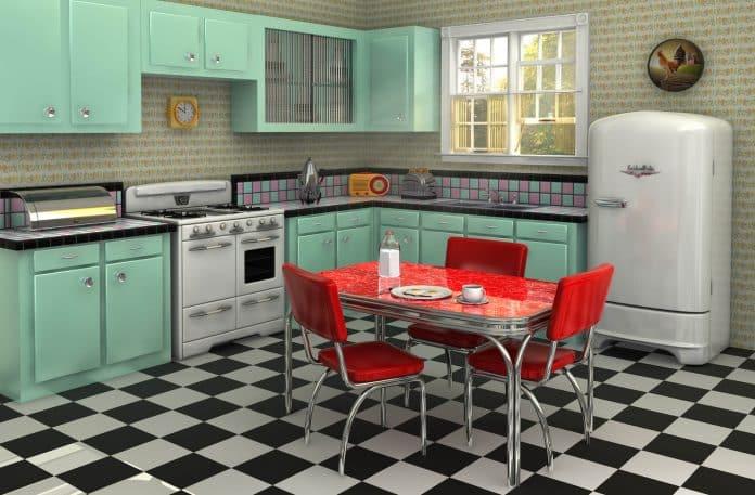 uma cozinha retrô