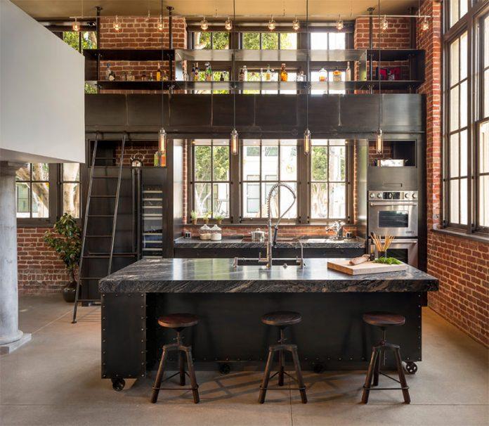 Detalhes de uma cozinha  com decoração industrial