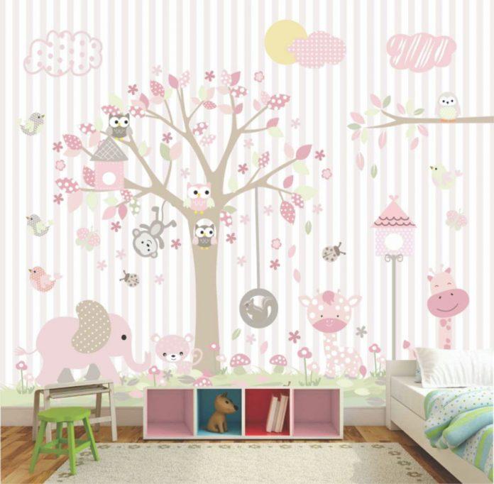 papel de parede super delicado para compor a decoração do quarto de bebe