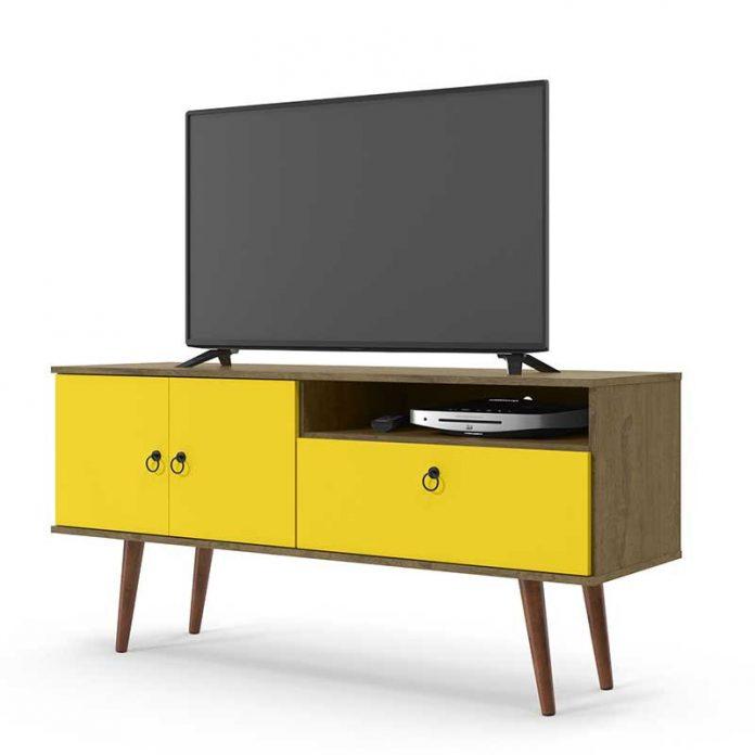 rack retrô com cor amarela forte para cômodos com cores clean