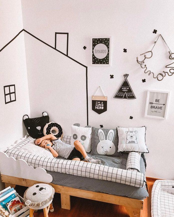 Decoração econômica no quarto da criança, fita isolante para despertar a imaginação da criança