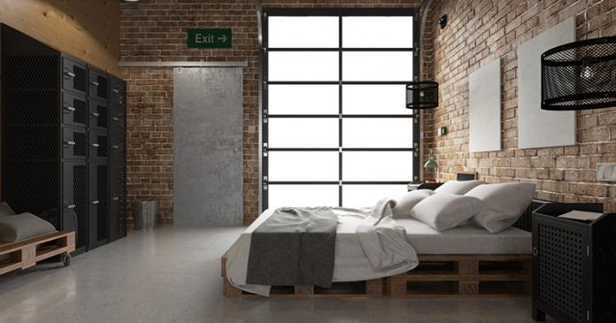 Revestimento para as paredes na decoração de um quarto no estilo industrial