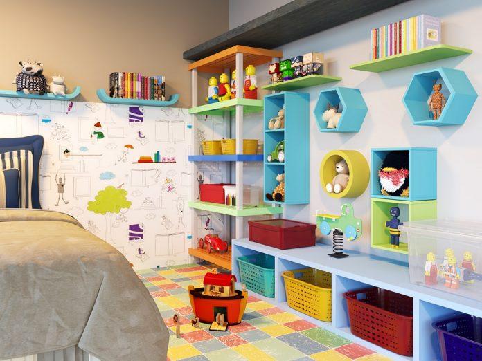 Nichos e prateleiras para a decoração do quarto infantil