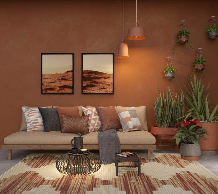 decoração para sala de estar com tom terroso