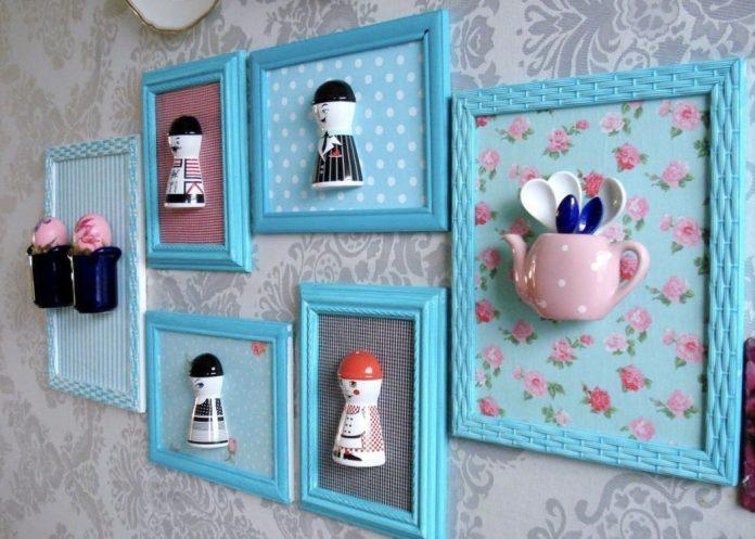 Quadros de decoração em 3d de bule e utensílios da cozinha