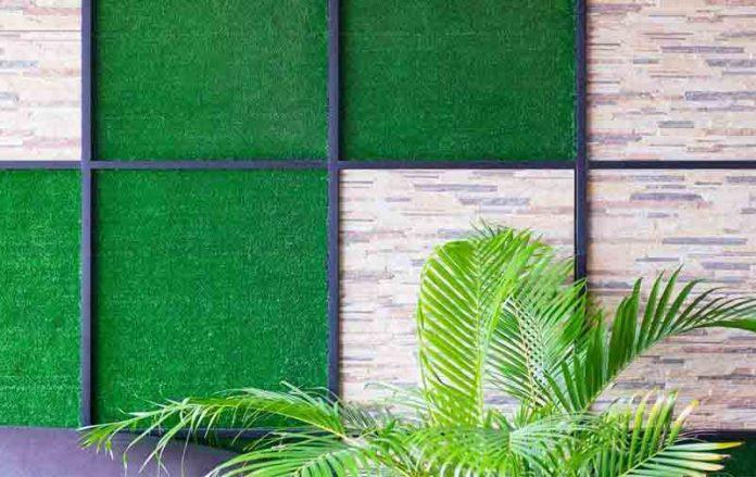 azulejo feito de grama sintética