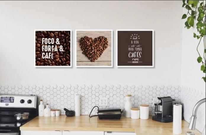 quadro com o tema café para se colocar próximo ao fogão