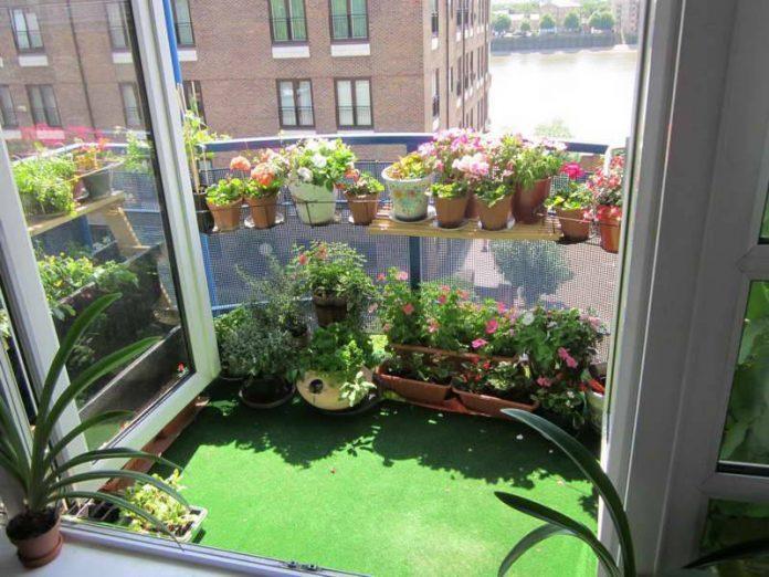 Grama sintética nos jardins de inverno