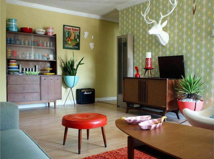 Decoração de uma sala no estilo retrô