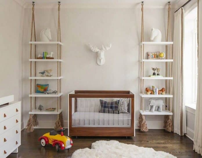 Estante suspensa para a decoração de quarto do bebe