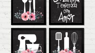 Decoração parede da cozinha com quadrinhos de lojas populares