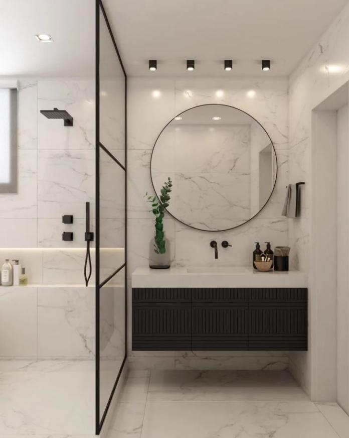 espelho redendo para a decoração do banheiro