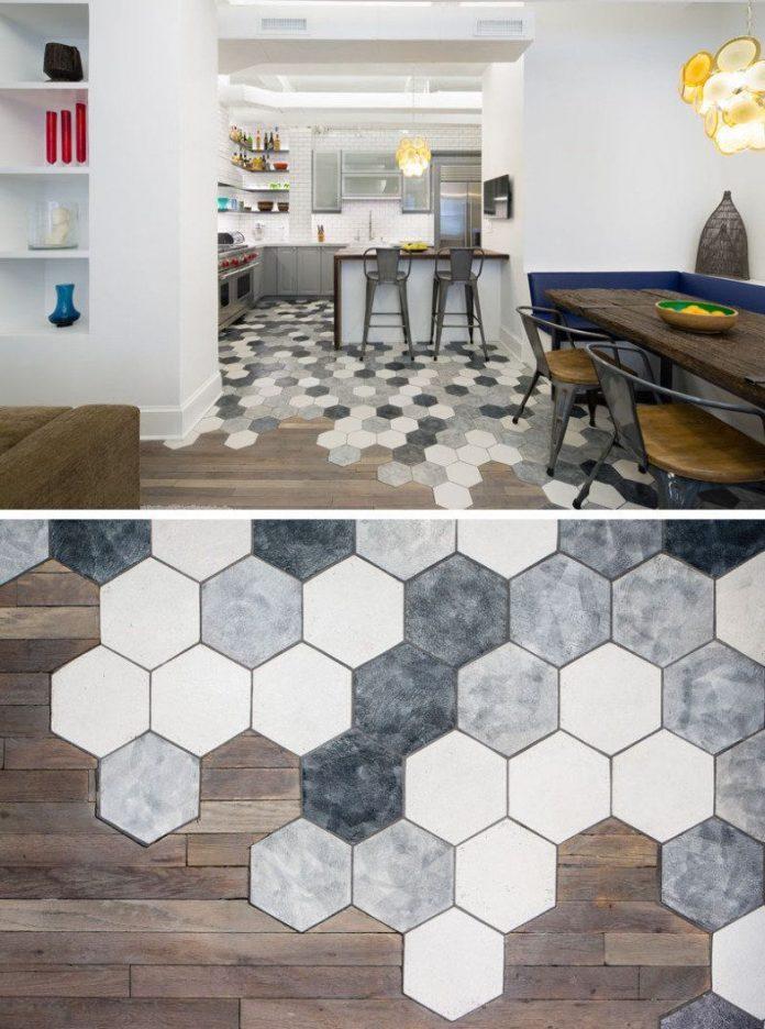 Revestimento hexagonal para o chão