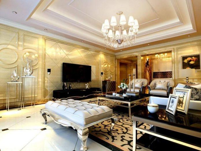 sanca super requintada que traz muito luxo ao ambiente em união com o lustre e o resto do ambiente todo com móveis mais luxuosos