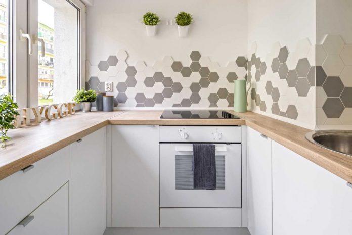 revestimento em hexagonal para meia parede da cozinha
