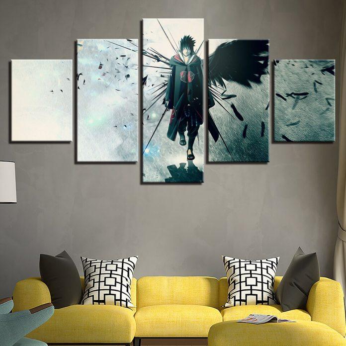 um quadro do naruto enfeitando a sala como peça principal, bem excêntrico pode encantar quem é fã, uma decoração feita de uma maneira irreverente