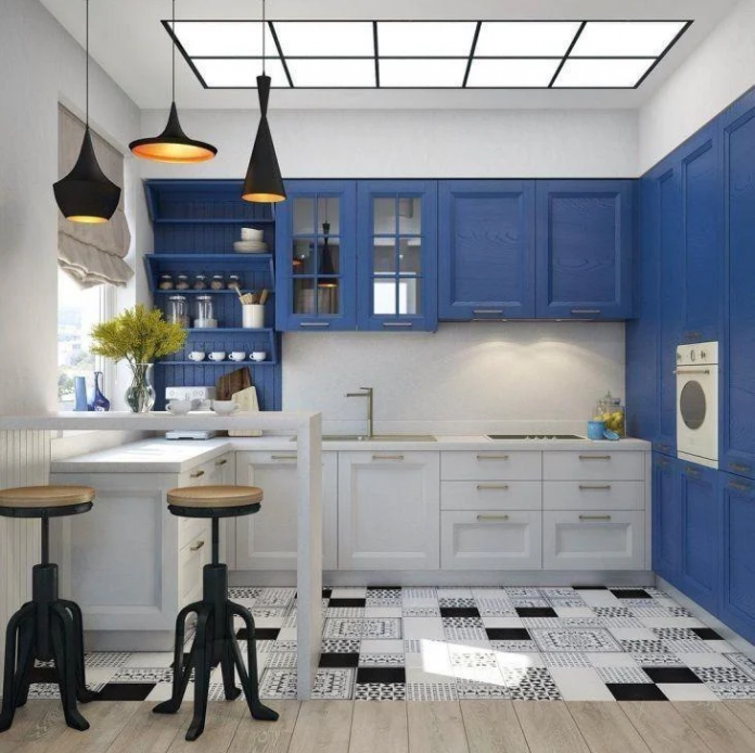 cozinha no estilo americano azul e branco