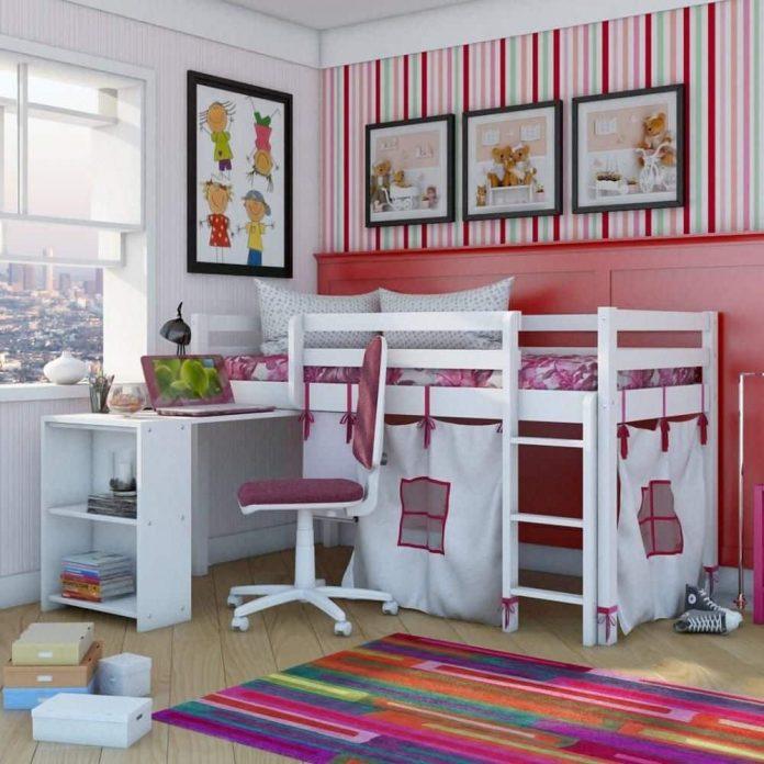 escrivaninha acoplada com beliche para quarto infantil