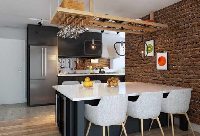 mesa e bancada de parede para cozinha