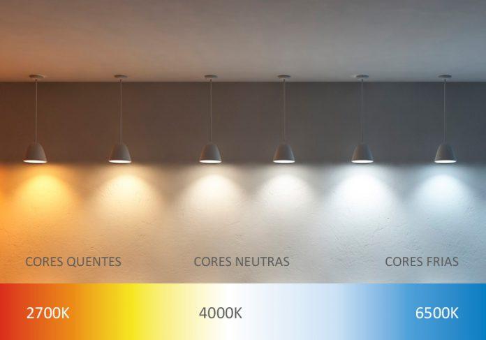 diferença de cores das lampadas