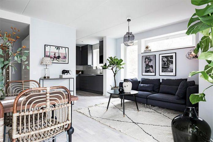 apartamento em preto e branco