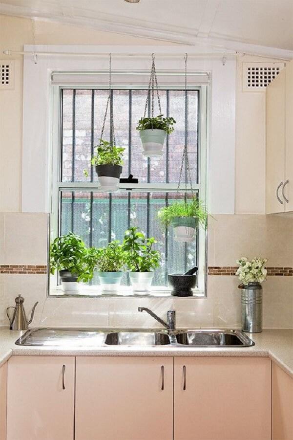 decoração da janela com plantas