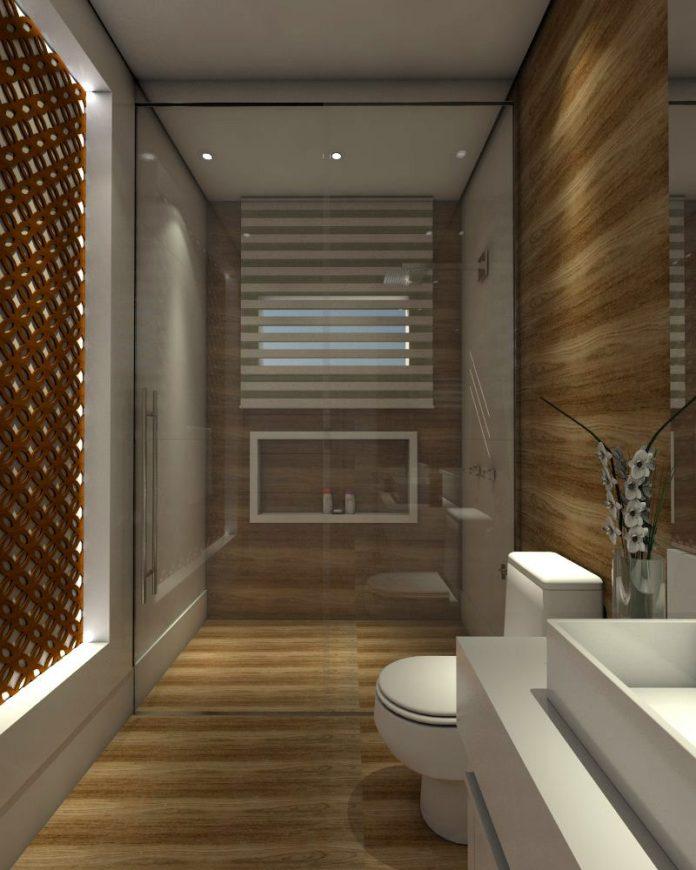 Decoração de banheiro com piso de madeira